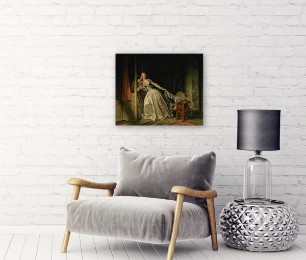 Photo Of The Stolen kiss Painting Wall Art Canvas Print 2