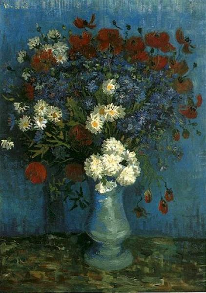 Photo of painting of vase with flowers