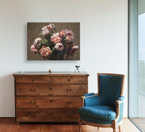 Painting of Peonies By Henri Fantin-Latour Wall Art Canvas Print 3