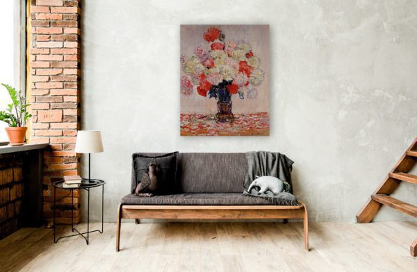 Painting Of Peonies Wall Art Canvas Print by Claude Monet 2